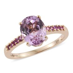 Walk the red carpet of fashion with this celebrity-inspired ILIANA Kunzite and pink sapphire ring. The breathtaking ring shows off an enticing pink coloured AAA Brazilian Kunzite stone (3.35 Carat) in oval cut that enhances your feminine appeal with its largely contemporary design. The ring belongs to the Tuscon Collection by ILIANA brand and is made of 18K yellow gold. The vivid lustre of the rare pink stone is enhanced by the pink sapphires lined along the classily designed shank.