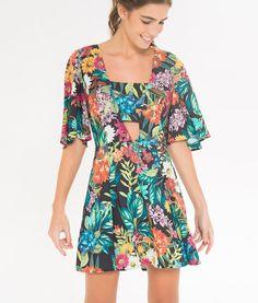 vestido vazado floral juliana
