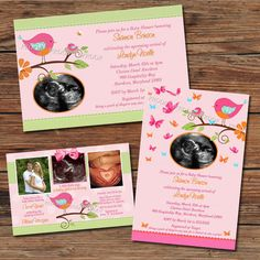7 best tweet bird birdie baby shower invitations images on pinterest tweet birds butterflies baby girl shower invitations thank you cards sonogram photo 4 designs to filmwisefo