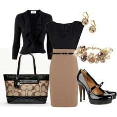 Business attire - women - Perfect to wear to work! This is classic, love the Coach purse!
