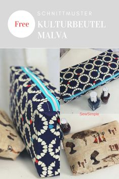 Sewing toiletry bags is so much fun! Especially when the sewing instructions are so detailed and the pattern is so pretty easy! This practical cosmetic bag is particularly suitable for sewing beginners! Easy Sewing Projects, Sewing Projects For Beginners, Sewing Hacks, Sewing Tutorials, Sewing Tips, Grocery Bag Holder, Fabric Headbands, Diy Bags, Love Sewing