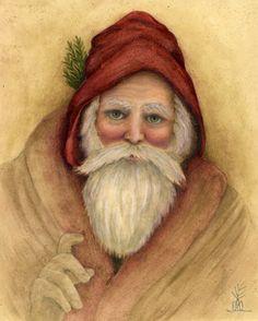 watercolor by Anne Childs Xmas Pics, Xmas Pictures, Prim Christmas, Vintage Christmas, Christmas Decor, Santa Paintings, Christmas Paintings, Coaster Art, Saint Nicholas