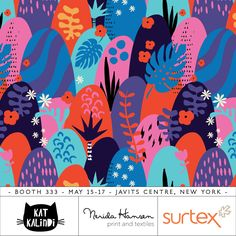 Kat Kalindi - www.teamkitten.com #surtex #surtex2016 #pattern #tropical abstract jungle fun