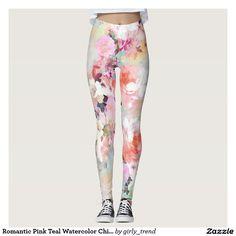 Romantic Pink Teal Watercolor Chic Floral Pattern Leggings