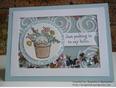 Shaker frame card, Stampin' Up! Pretty Kitty, Swirly Scribble thinlits dies