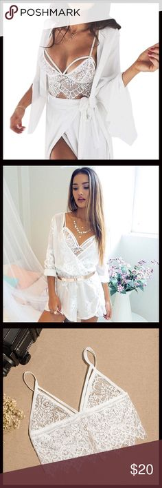 SALE‼️Gorgeous Lace Bralette Gorgeous bralette! Available in black or white. Lace bralette with back enclosure. Price firm unless bundled. Sheer lace bra. Intimates & Sleepwear Bras