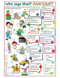 "Who says that? - CAN / CAN""T worksheet - Free ESL printable worksheets made by teachers"