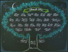 Family Tree Family Tree Designs, Wedding Calligraphy, Craft Tutorials, Neon Signs, Genealogy, Unique Jewelry, Handmade Gifts, Chalkboard, Crafts