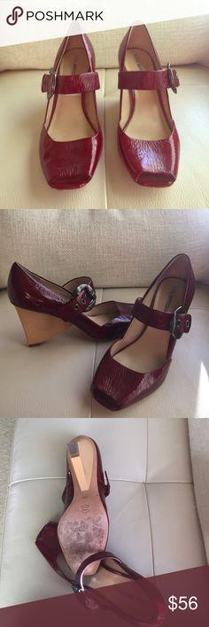 Via spiga red open toe wedge Two tone open toe wedge Via Spiga Shoes Wedges