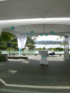 Blue wedding ceremony set-up