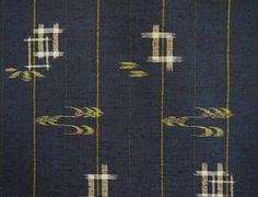 Vintage Japanese kimono fabric  Indigo geometric Meisen silk
