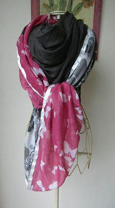 Foulard femme,écharpe gris et rose ,papillon. Grand foulard gris,rose et 90f5916a6d8