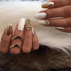 Matte White and Metallic Gold Nails