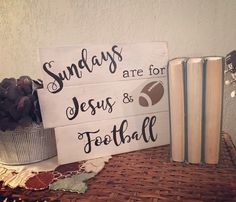 Wood sign, pallet wood, Sundays are for Jesus and Football, white, handmade, hand painted, vinyl graphic, football, Jesus, ~12x9 by IAECreations on Etsy https://www.etsy.com/listing/482693711/wood-sign-pallet-wood-sundays-are-for