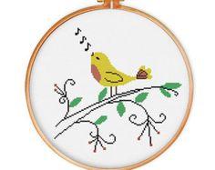 Bird on Grass cross stitch pattern modern cross by ThuHaDesign