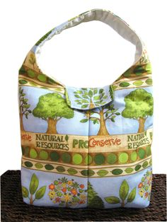 Artisan Handcrafted Cotton Insulated Lunch Bag - Conserve -  Reusable Eco Friendly Lunch Bag from Ecotopia.