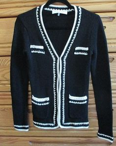 Available in our Ebay store- click on photo for full details.  Trina Turk Black Cardigan Sweater Size P Ivory Cream Trim 100% Cotton Hook Eye #TrinaTurk #Cardigan #black #white #cotton #fashion #sweater