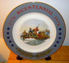 Plate of General George Washington crossing the Delaware River. Commemorative Bicentennial Plate. I was almost 17 on July 4th 1976. What a celebration of Tall Ships in our NYC harbor! I will remember it for the rest of my life. The build-up to the ev Imprinted plates