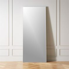 """Shop Infinity White Floor Mirror 32""""x76"""". Looking glass framed thin, trim and exact in pure extruded aluminum with bright white finish. Handmade frame resists corrosion so it's perfect in the bath. Anti-tip hardware included."""