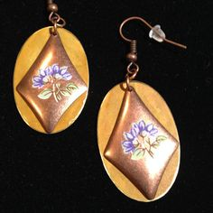 Purple violets on copper by HandScreativedesigns on Etsy, $15.00