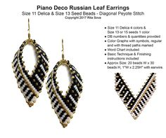 Piano Deco Russian Leaf Earrings | Bead-Patterns.com
