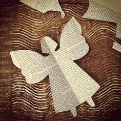 paper angel by Charlotte Lyons Little Christmas, Christmas Angels, Christmas Holidays, Christmas Crafts, Christmas Decorations, Xmas, Christmas Ornaments, Christmas Paper, Book Crafts
