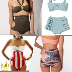 Want a high wasted bikini! One of these would be nice....