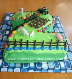 Homemade Out on the Farm Cake: A very easy farm cake for the 2 year old's. Simple chocolate cake cooked in a roasting dish and cut to a (or whatever number you require). I cheated (farm birthday food ideas) 2 Year Old Birthday Cake, 2nd Birthday Party For Boys, Farm Birthday Cakes, Birthday Cake Girls, Birthday Ideas, Barnyard Cake, Farm Cake, Digger Cake, Farm Themed Party