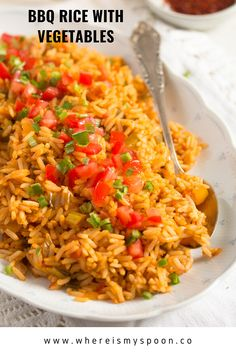 Spicy BBQ rice with vegetables, a healthy rice side dish for your next barbecue or a BBQ flavored rice main meal. #whereismyspoon #barbecuerice #bbqrice #ricesidedish #sidedishes #vegetablerice #spicyrice #barbecue #bbqrecipes