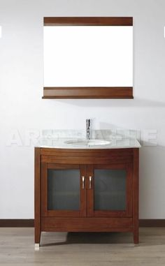 36-inch Contemporary Art-Bathe Marble-top Cherry Vanity, Sink, Faucet & Mirror #ArtBathe #Contemporary