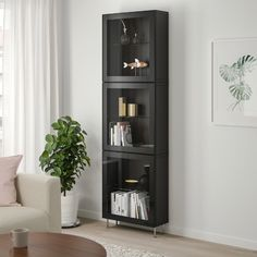 BESTÅ Storage combination with glass doors - black-brown, Glassvik / Stallarp black / clear glass - IKEA Glass Cabinet Doors, Glass Shelves, Glass Doors, Soft Closing Hinges, Knobs And Handles, Glass Panels, Clear Glass, Black And Brown, Home Furniture