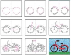How to Draw a Bike · Art Projects for Kids Drawing Tutorials For Kids, Drawing For Kids, Art Tutorials, Art For Kids, Drawing Lessons, Art Lessons, Classe D'art, Bike Drawing, Bicycle Art