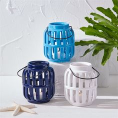 Two's Company Ceramic Rhodes Lanterns - Set of 3 (Dark Blue, Light Blue, White)