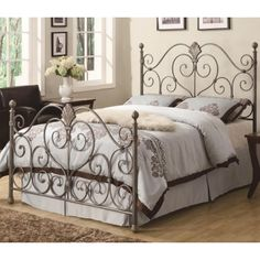 $220 Coaster Furniture 300259Q Iron Beds and Headboards Queen Metal Headboard & Footboard Bed with Ornate Swirl Details