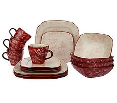 Temp-tations Floral Lace 16-piece Square Dinnerware Set in color: CRANBERRY