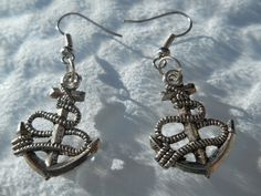 Tibetan Silver Anchor And Chain Dangle Earrings by MysticMountainJewels on Etsy