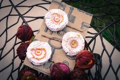Set of Three Stitched Flower Bobby Pins by NewCreatures on Etsy, $12.00