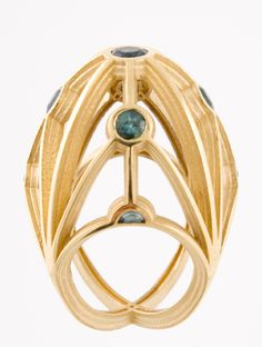 Ring | Sarah Herriot. 'Tower of London'.  18k gold and tourmalines.