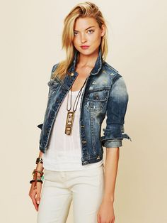 Free People Diamond Embroidered Denim Jacket, $228.00