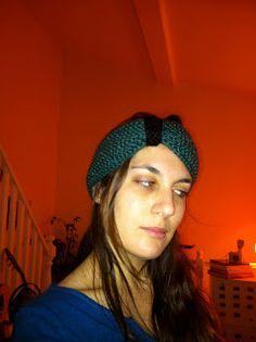 Deep green and black woolen headband