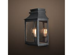 We have of these in the small size. RH's Vintage French Gas Lantern Sconce:Echoing the stately lines of an antique French gas lantern, this fixture handsomely showcases the warmth of an Edison-style filament bulb. Indoor Lanterns, Gas Lanterns, Exterior Lighting, Outdoor Lighting, Modern Rustic Decor, House Deck, Cabin Homes, Exterior Doors, French Vintage