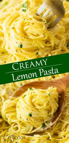 Creamy Lemon Pasta (One Pot!) If you have one pot and 20 minutes, then this Creamy Lemon Pasta can be on your table in no time! You'll love every bite of this buttery lemon sauce! Pair it with chicken, shrimp, or enjoy it as-is! Lemon Spaghetti, Spaghetti Recipes, One Pot Spaghetti, Pasta Recipes No Meat, Recipes Using Pasta Sauce, Spaghetti With Chicken, Simple Pasta Recipes, Angel Hair Pasta Recipes, Creamy Spaghetti