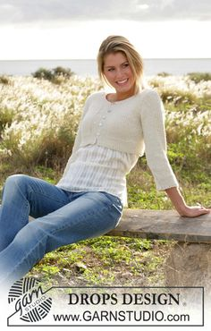 """DROPS 100-32 - DROPS short cardigan with ¾ sleeves knitted in moss sts with """"Silke-Alpaca"""". - Free pattern by DROPS Design"""