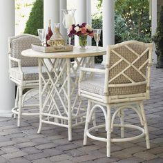 Island Estate Hamptons 3 Piece Dining Pub Set with High/Low Bistro Table and Swivel Counter Stools by Tommy Bahama Outdoor Living - Baer's Furniture - Outdoor Pub Dining Set Miami, Ft. Lauderdale, Orlando, Sarasota, Naples, Ft. Myers, Florida