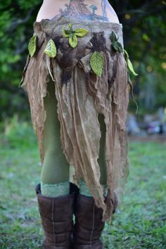 Nuno Felted Skirt-Pixie Belt-Woodland Costume-Nymph by frixiegirl
