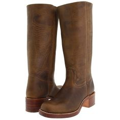 Frye Campus 14L (Dark Brown Leather) Cowboy Boots ($328) ❤ liked on Polyvore featuring shoes, boots, frye campus boot, dark brown leather, leather boots, cowgirl boots, long cowboy boots, dark brown cowgirl boots and knee high leather boots