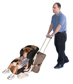 """Reviewer said, """"I showed my husband the picture of this because I thought it looked pretty smart. Well, two minutes later he had the carseat attached to the rolling carry on WITHOUT the purchased strap. You still use the seat hooks from your car seat - both side clips and the top clip. Put the top car seat hook under the top handle of your luggage & the side ones simply around the sides of the luggage. Buy a metal ring from a hardware store & clip the car seat hooks to it & tighten all strap..."""