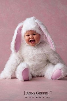 [CasaGiardino]  ♡  Crazy cute.  Even crazier, I have a stuffed bunny with a baby face that looks just like this.  (anne geddes)