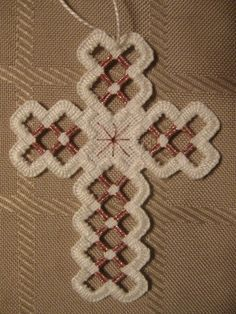 Hardanger Cross Ornament  Pink Amethyst by twistedthreads on Etsy, $11.00