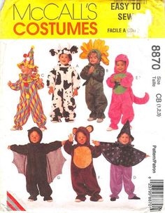 MCCALLS 8870 - FROM 1997 - UNCUT - TODDLERS COSTUMES